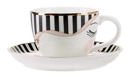 Miss Étoile - Bow espresso kop og underkop - White/Black/Rose