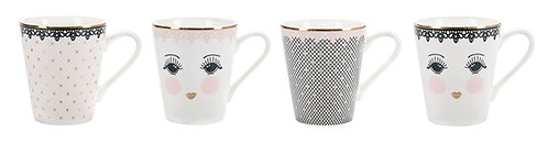 Miss Étoile - Lace kaffesæt 4 stk - White/Black/Rose