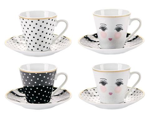 Miss Étoile - Espresso kaffesæt 4 stk - Hvid