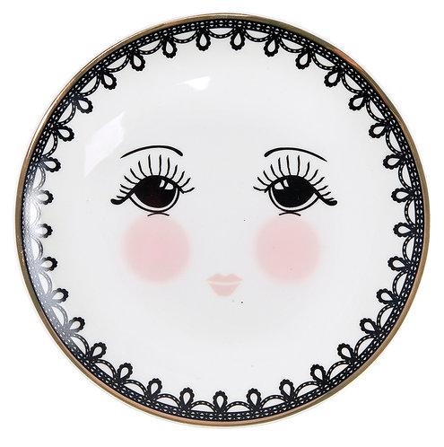 Miss Étoile - Lace tallerken lille - White/Black/rose
