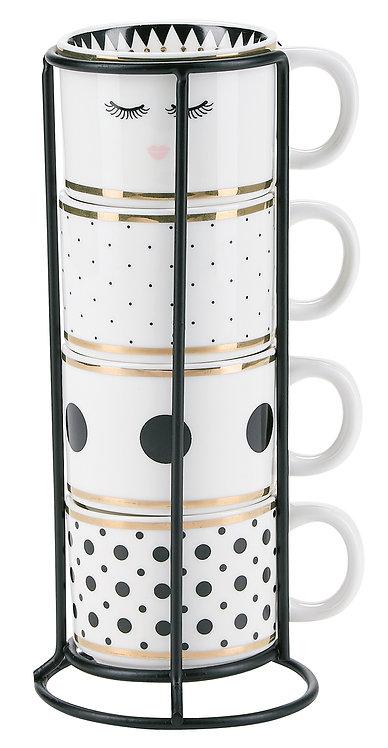 Miss Étoile - Espresso kaffekrus  m. holder 4 stk - white/black/gold