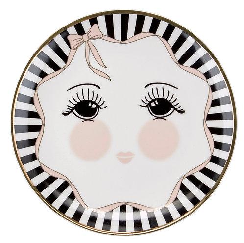 Miss Étoile - Bow tallerken lille - White/Black/Rose