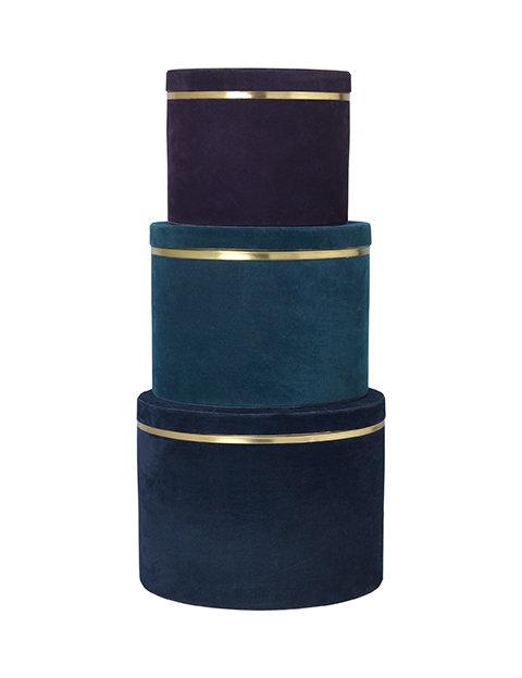 Cozy Living - Velour boks sæt á 3 - Royal blue