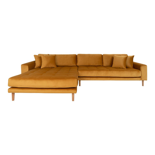House Nordic - Lido Lounge sofa venstrevendt i sennepsgul velour