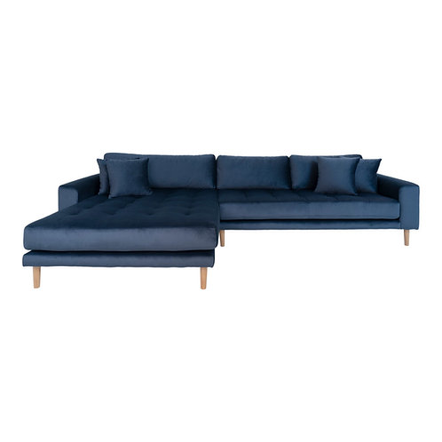 House Nordic - Lido Lounge sofa venstrevendt i mørkeblå velour