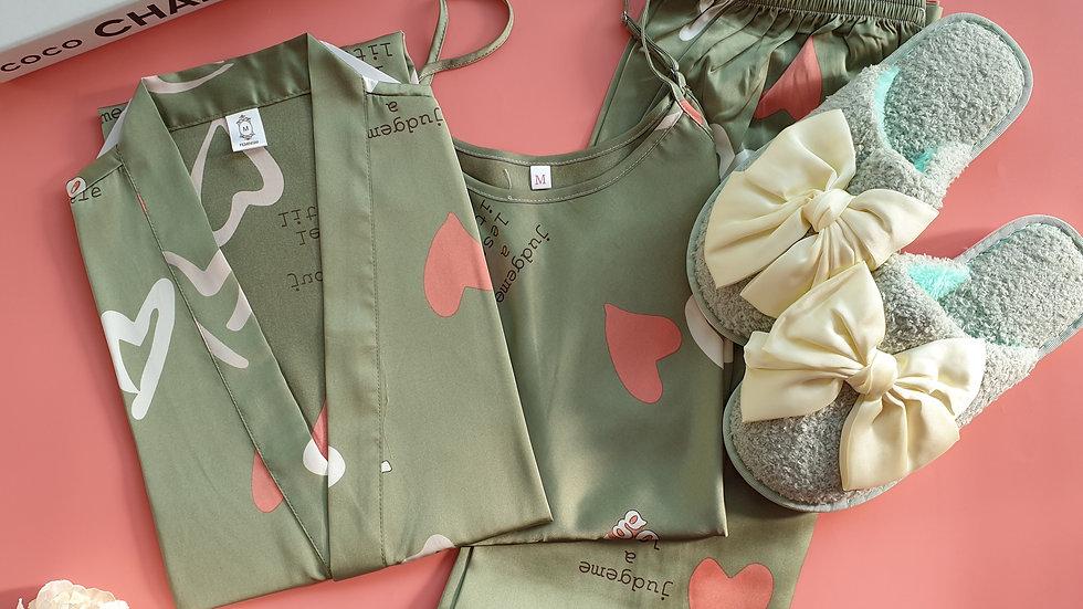 Heart Green 3pc Robe + Cheska slippers