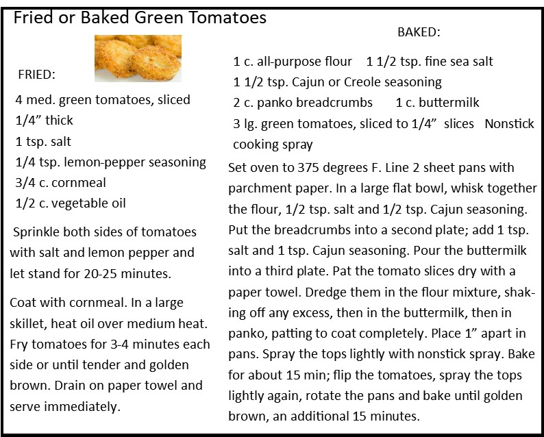 Fried or Baked Green Tomatoes