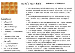 Nana's Yeast Rolls