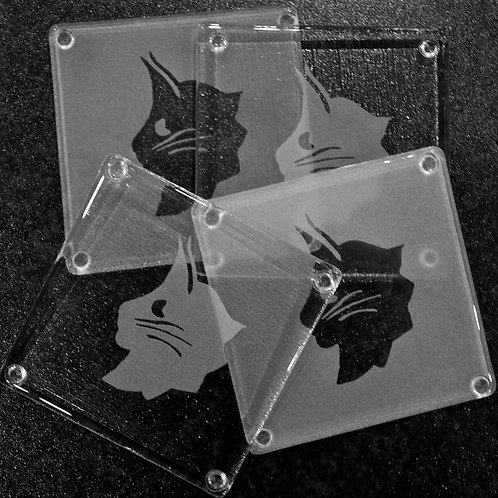 Glass Coaster - Mixed NFC Head Design - LAST ONE