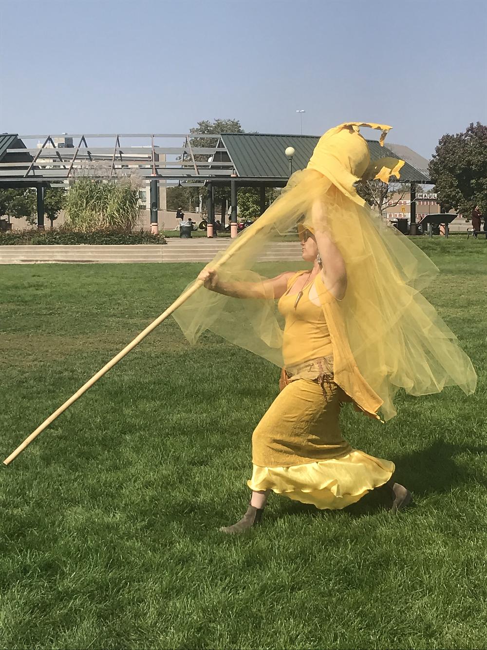 Rachel Carrying the Golden Solar Plexus Swan