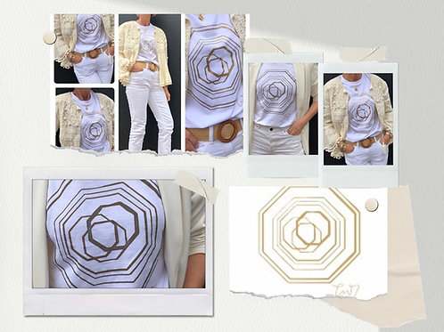 White T-shirt with metallic gold Emblem design