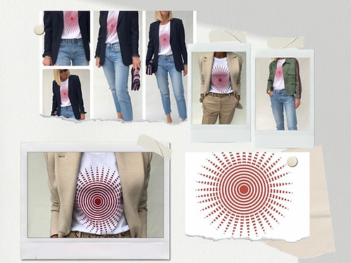 White T-shirt with red Spiral design