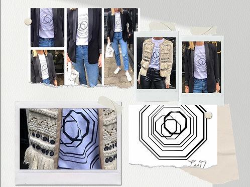 White T-shirt with black Emblem design