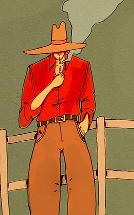 Cowboy, pin-badge backing board
