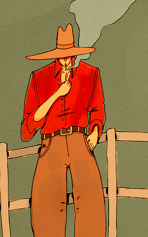 Cowboy, pin-badge backing board