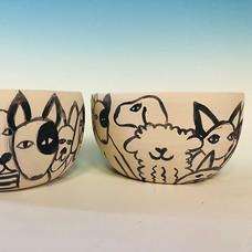 #black & #white #dog #design on #bowls #