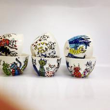 #quirky cat design bowls #cats #cat desi