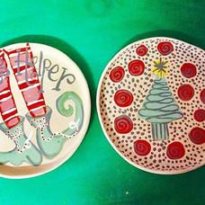 #Christmas #paintings on #slab #plates.