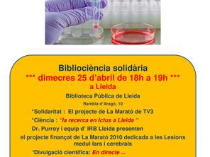 Bibliociència solidària: la recerca en Ictus a Lleida
