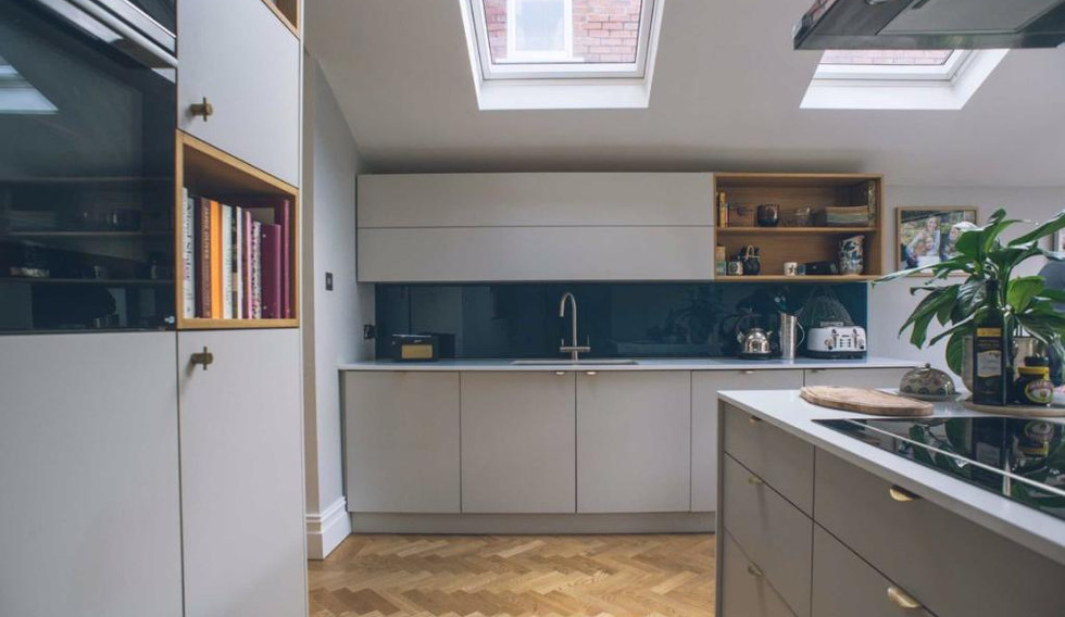 kitchen showing rooflights over