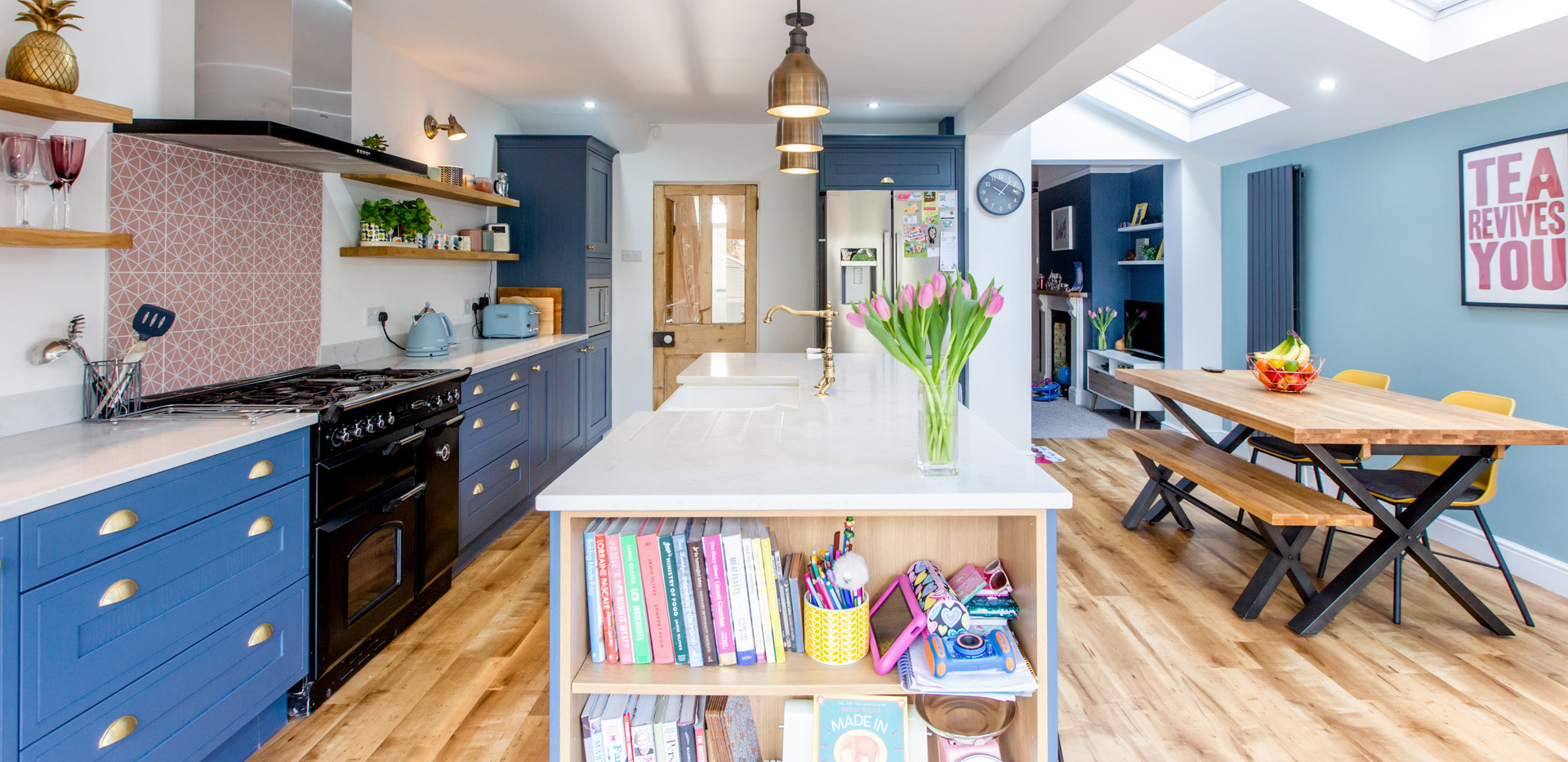 Rooflights flood the space with natural light