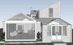 Pitched glazed extension