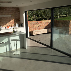 Sliding doors and kitchen