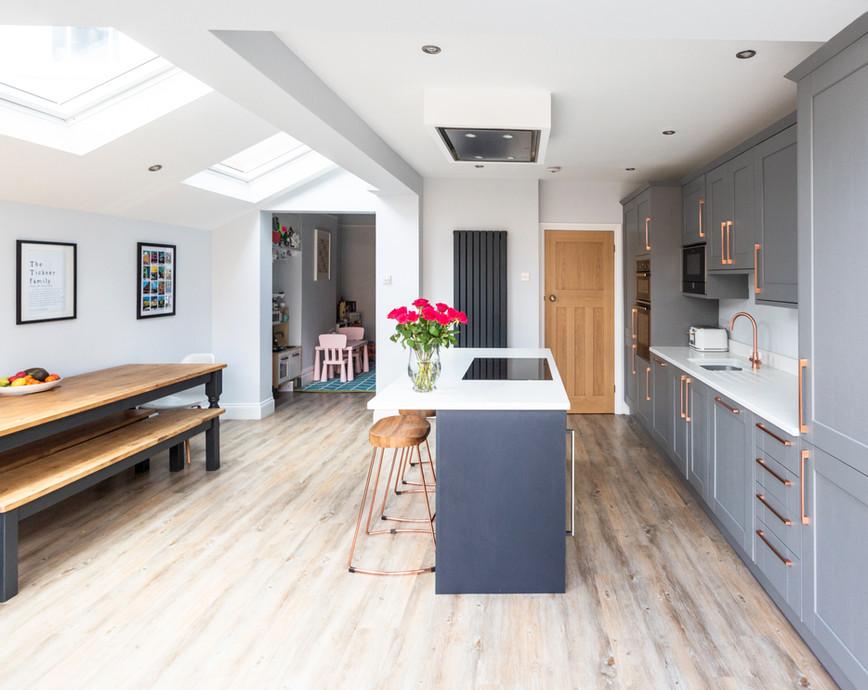 Light kitchen dining area