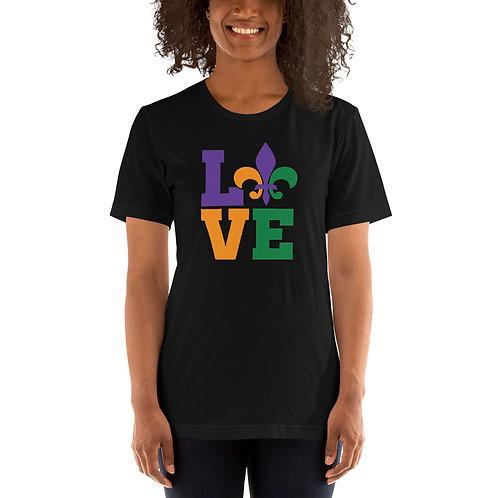 Mardi Gras Love Short-Sleeve Unisex T-Shirt
