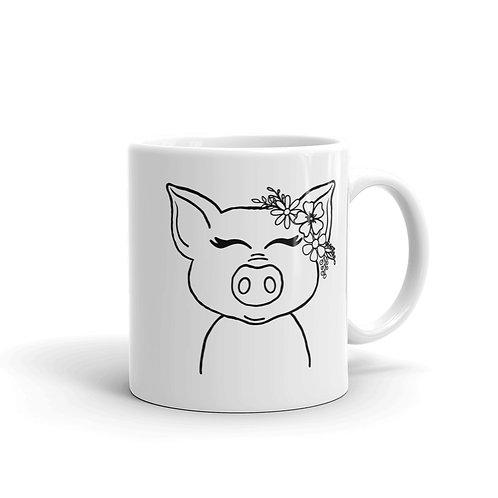 Pig White glossy mug