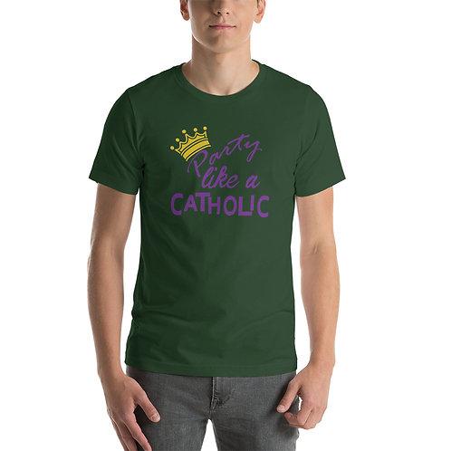 Party Like a Catholic (purple) Short-Sleeve Unisex T-Shirt