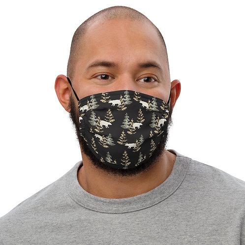 Black Bear Print Premium face mask