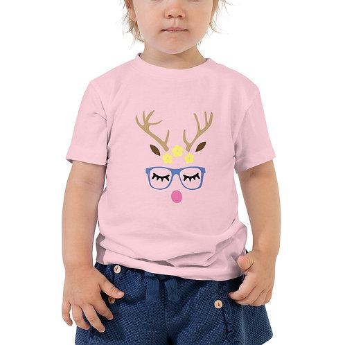 Girl Reindeer Toddler Short Sleeve Tee