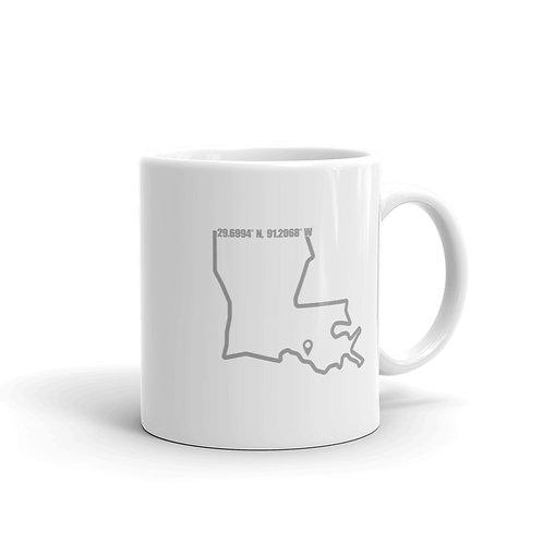 Morgan City Coordinates White glossy mug
