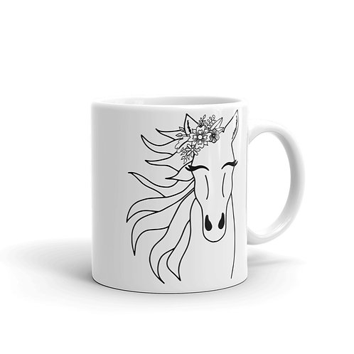 Horse White glossy mug
