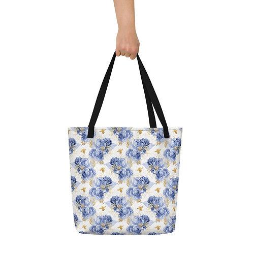 Serenity Bee Roses Beach Bag