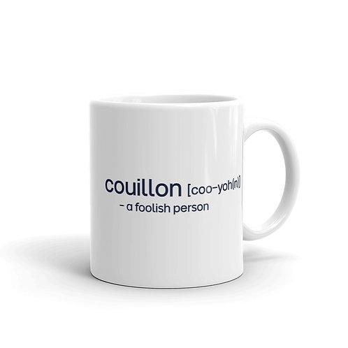"""Couillon"" Cajun French White glossy mug"