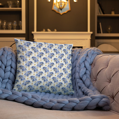 Serenity Bee Blue Rose Basic Pillow