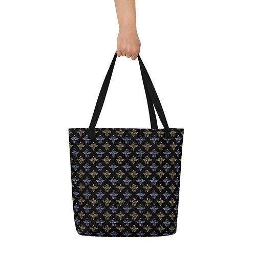 Serenity Black Bee Beach Bag