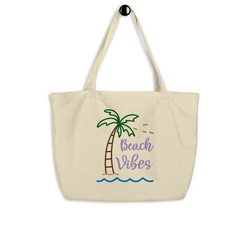 Beach Vibes Large organic tote bag