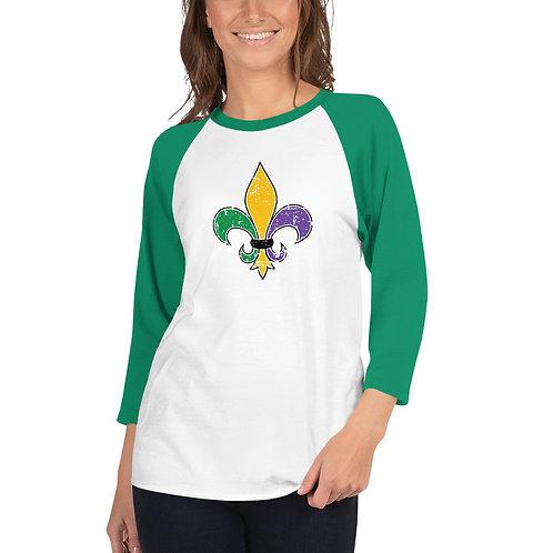 Mardi Gras Fleur De Lis 3/4 sleeve raglan shirt