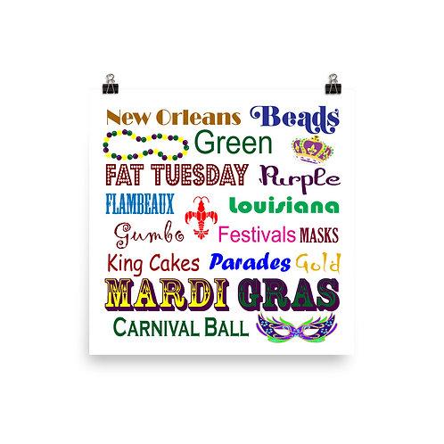 Mardi Gras Words Photo paper poster