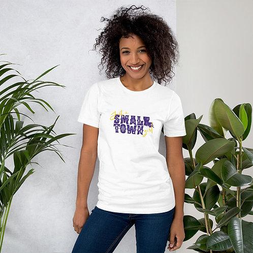 Just a Small Town Girl PURPLE & GOLD LOUISIANA Short-Sleeve Unisex T-Shirt