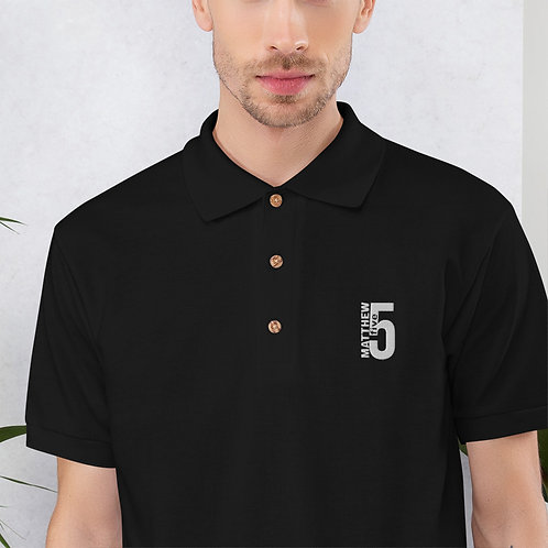 Matthew 5:5 Embroidered Polo Shirt
