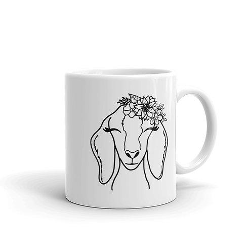 Goat White glossy mug