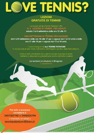 Lezioni di tennis gratuite a settembre per adulti e bambini all'asd Tennis Patavium