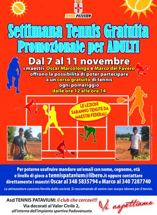 PROMOZIONE SETTIMANA GRATUITA TENNIS dal 7 all'11 novembre