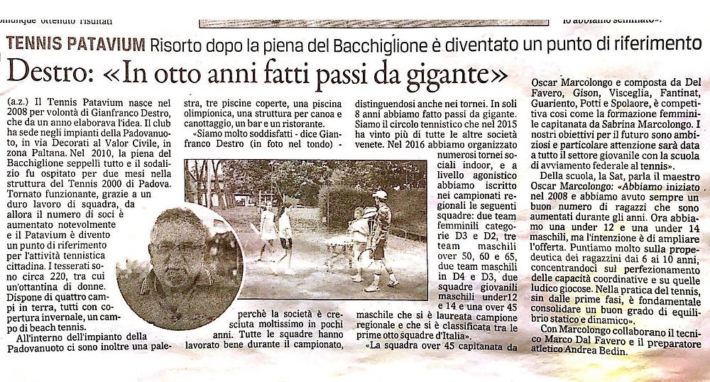 Gazzettino, asd tennis Patavium