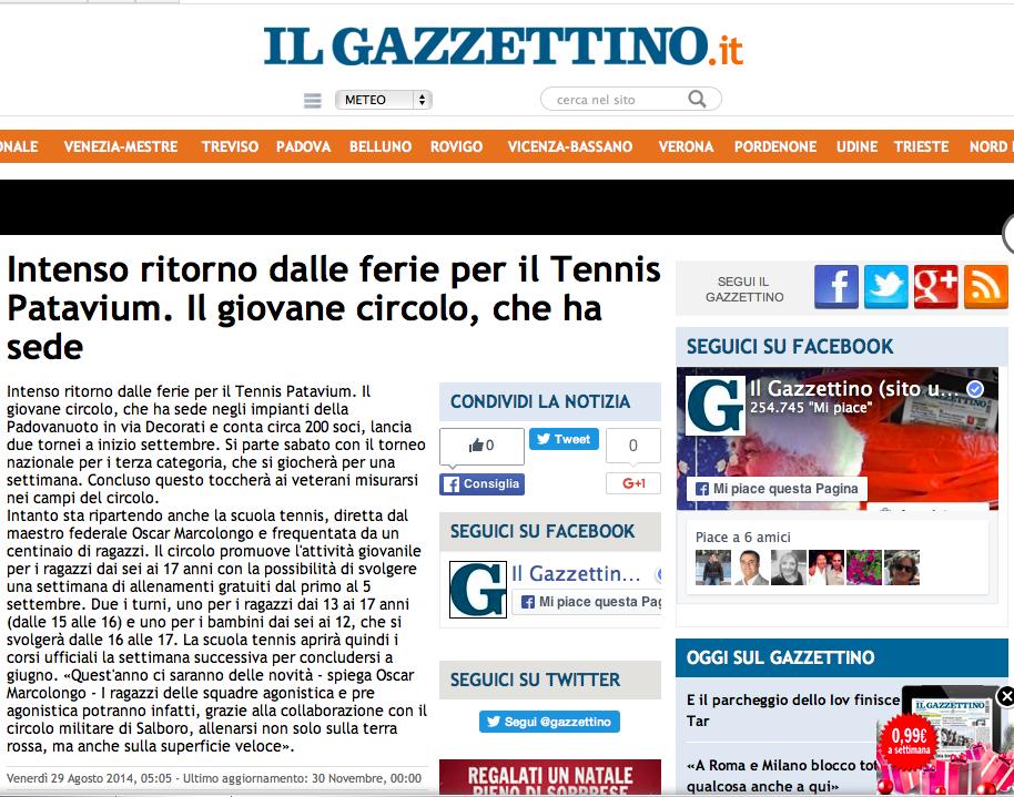 Il Gazzettino - 29 agosto 2014