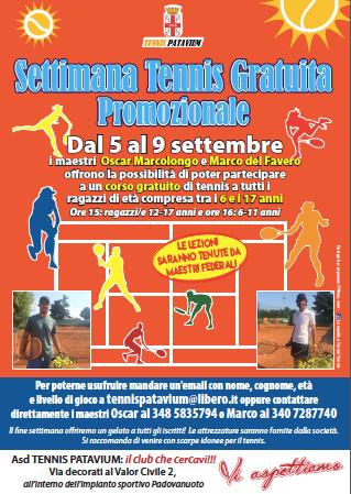 Settimana Corso di Tennis Gratuito a settembre per i ragazzi